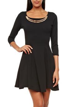 Textured Knit 3/4 Sleeve Skater Dress with Metallic Necklace,BLACK,medium