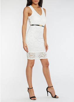 Sleeveless Lace Dress with Belt - WHITE - 3096058751984