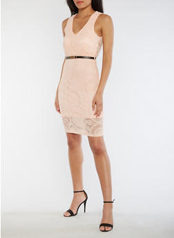 Sleeveless Lace Dress with Belt - 3096058751984