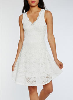 Sleeveless Lace Skater Dress - WHITE - 3096058752640