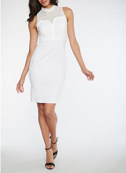 Soft Knit Lace Bodycon Dress - WHITE - 3096058752644
