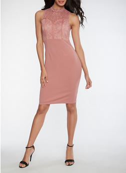 Soft Knit Lace Bodycon Dress - 3096058752644