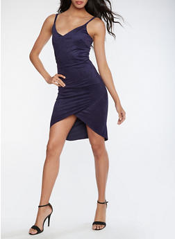 Faux Suede Bodycon Slip Dress - 3096058752678