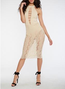 Caged Neck Bodysuit Lace Dress - 3096058752706