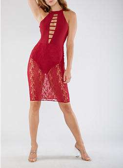 Caged Neck Bodysuit Lace Dress - 3096058752706