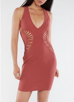 Crepe Knit Cutout Bodycon Dress - 3096058752744