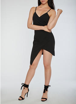 Faux Wrap Asymmetrical Dress - 3096058752749
