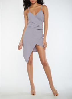 Faux Wrap Asymmetrical Dress - 3096058752749
