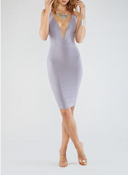 Plunging Bodycon Dress - 3096058752756