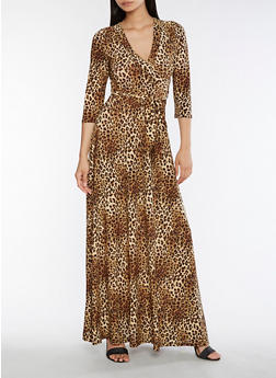 Leopard Faux Wrap Maxi Dress - 3096058753278