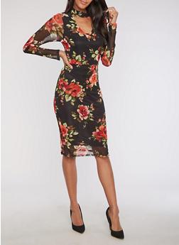 Floral Mesh Choker Bodycon Dress - 3096058930801