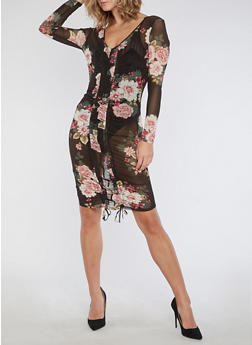 Floral Mesh Bodycon Dress with Ruched Details - 3096058930803