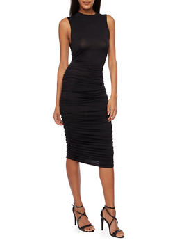 Sleeveless Bodycon Midi Dress with Ruching - BLACK - 3096058930810