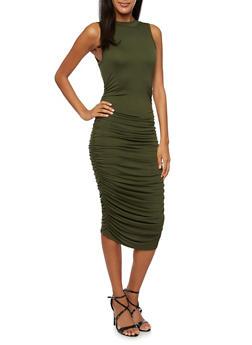 Sleeveless Bodycon Midi Dress with Ruching - 3096058930810