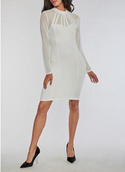 Long Sleeve Mesh Bodycon Dress - WHITE - 3096058932931