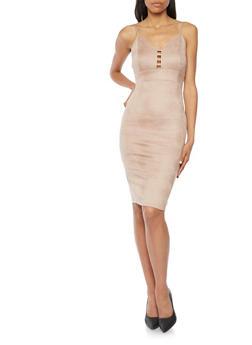 Soft Knit Bodycon Dress with Lattice Detail - 3096069390215