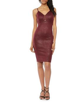 Knit Slip Dress with Lasercut Panel - 3096069390215