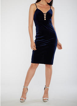 Velvet Plunge Neck Bodycon Dress - 3096069390229