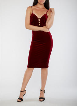 Velvet Plunge Neck Bodycon Dress - BURGUNDY - 3096069390229