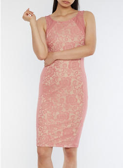 Mid Length Lace Detail Bodycon Dress - MAUVE/STONE - 3096069392875