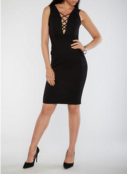 Caged Plunge Neck Bodycon Dress - 3096069392914