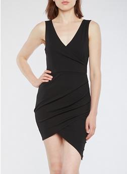 Crepe Knit Faux Wrap Bodycon Dress - 3096069392994