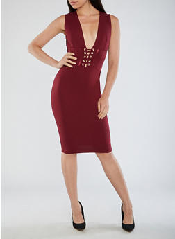 Sleeveless Bodycon Dress with Lace Up Front Detail - 3096069393310