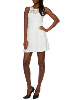 Sleeveless Lace Fit and Flare Dress with Zip Back - 3096069393417