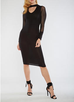 Midi Dress with Choker Neckline and Mesh Sleeves - 3096074013979