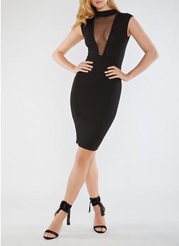 Sleeveless Bodycon Dress with Mesh Neckline - 3096074019765