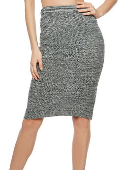 Marled Rib Knit Pencil Skirt - 3097038340491