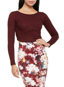 Marled Crop Top with Long Sleeves and Scoop Neck - 3097038341602