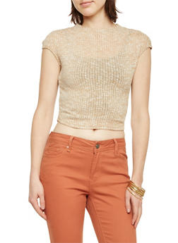 Funnel Neck Crop Top in Rib Knit - 3097038341605