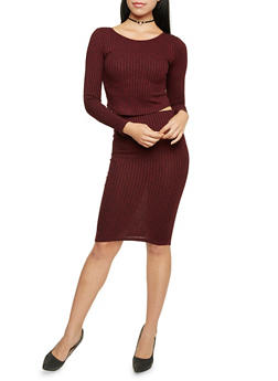 Marled Knit Pencil Skirt - 3097038341702