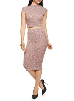 Ribbed Knit Pencil Skirt - 3097038341705