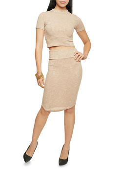 Ribbed Knit Pencil Skirt - 3097038341706