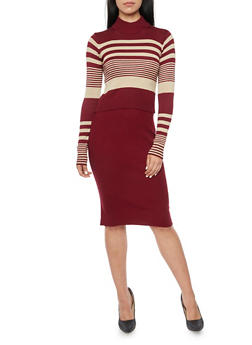 Long Sleeve Crop Top in Striped Knit - WINE-BEIGE - 3097038346452