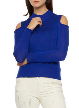 Turtleneck Sweater with Cold Shoulders - 3097038346453