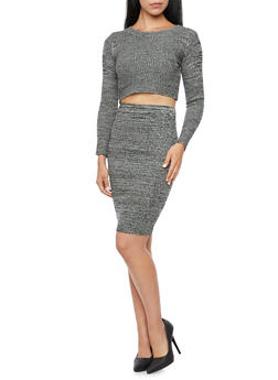 Long Sleeve Crop Top in Marled Knit - 3097038346482