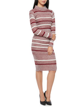 Striped Knit Top with Mock Neck - 3097038346483