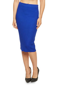 Midi Skirt in Ribbed Knit - 3097038347451
