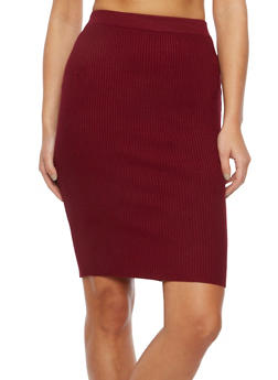 Midi Skirt in Ribbed Knit - 3097038347453