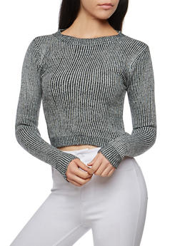 Two Tone Cropped Sweater - 3097038347480