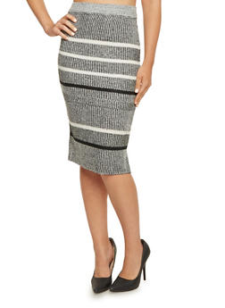 Knit Midi Skirt in Stripes - 3097038347483