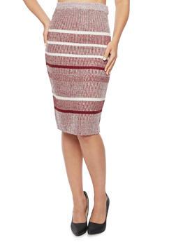 Knit Midi Skirt in Stripes - 3097038347483