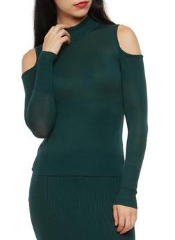 Cold Shoulder Mock Neck Sweater - 3097038348451
