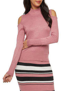 Cold Shoulder Mock Neck Sweater - 3097038348451