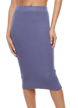 Rib Knit Pencil Skirt - 3097038348453