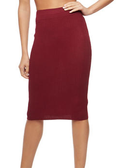 Rib Knit Pencil Skirt - 3097038348453