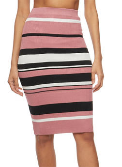Rib Knit Striped Pencil Skirt - 3097038348454